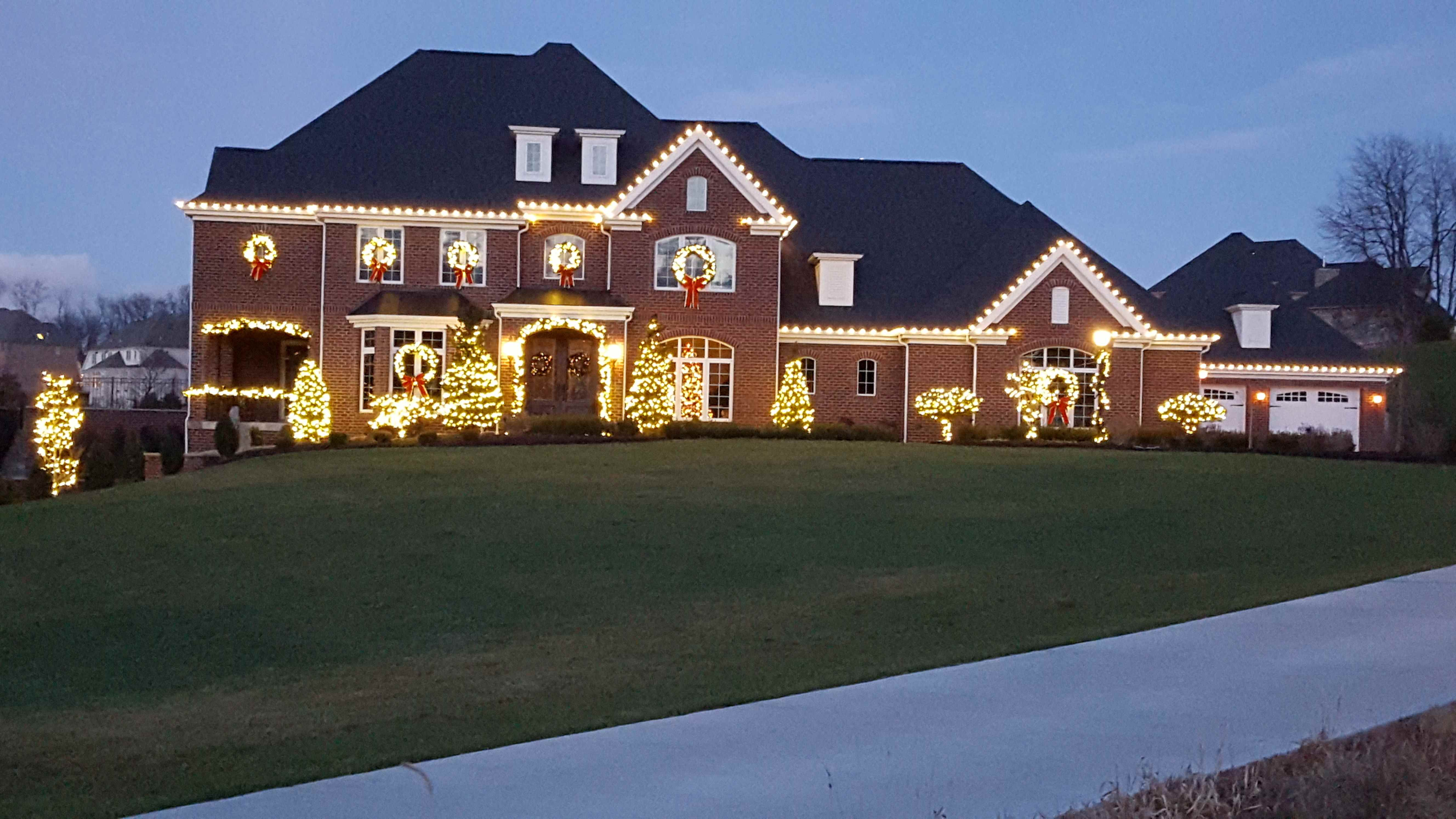 House With Holiday Lights on Trees