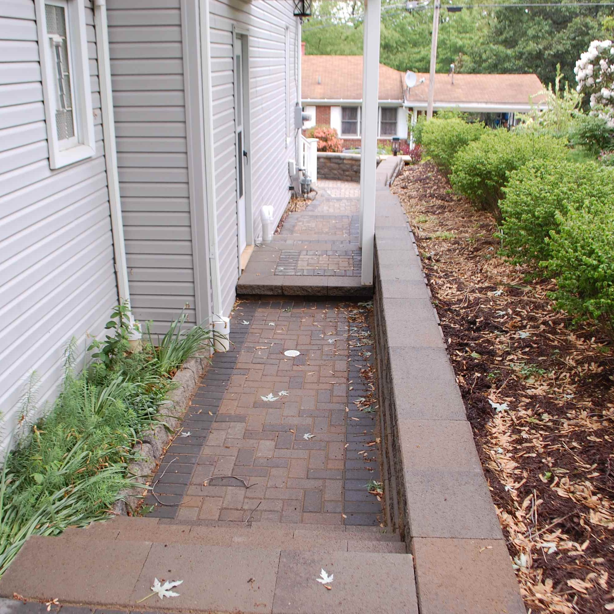 Retaining Wall with Stone Path