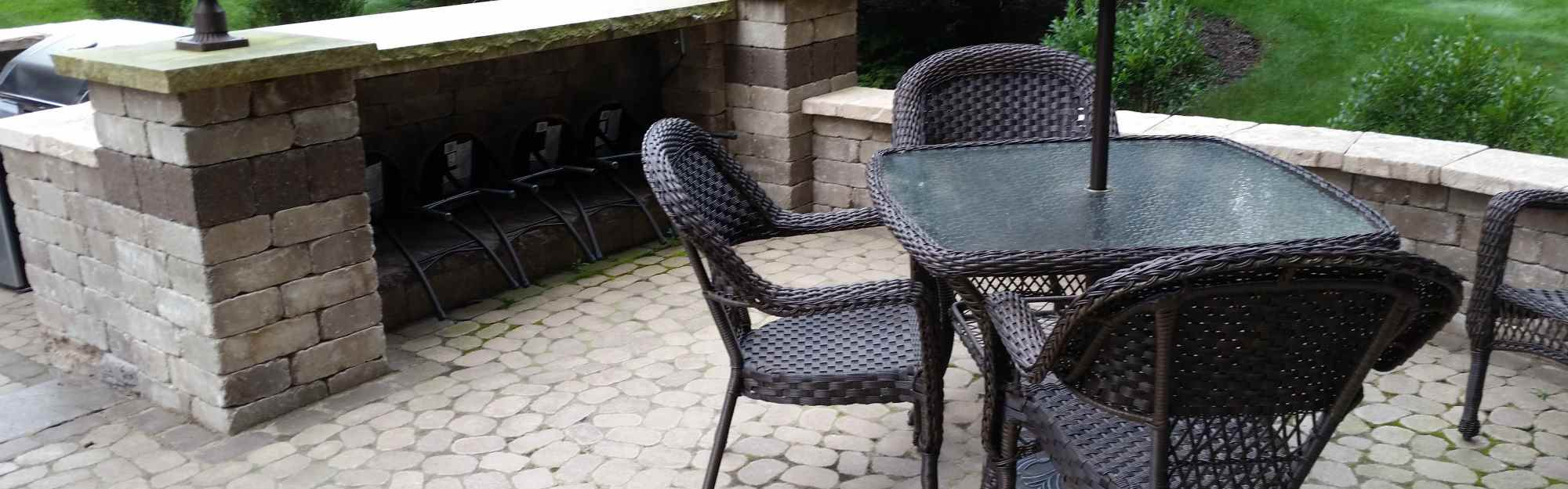 Stone Patio with Patio Table and Chairs