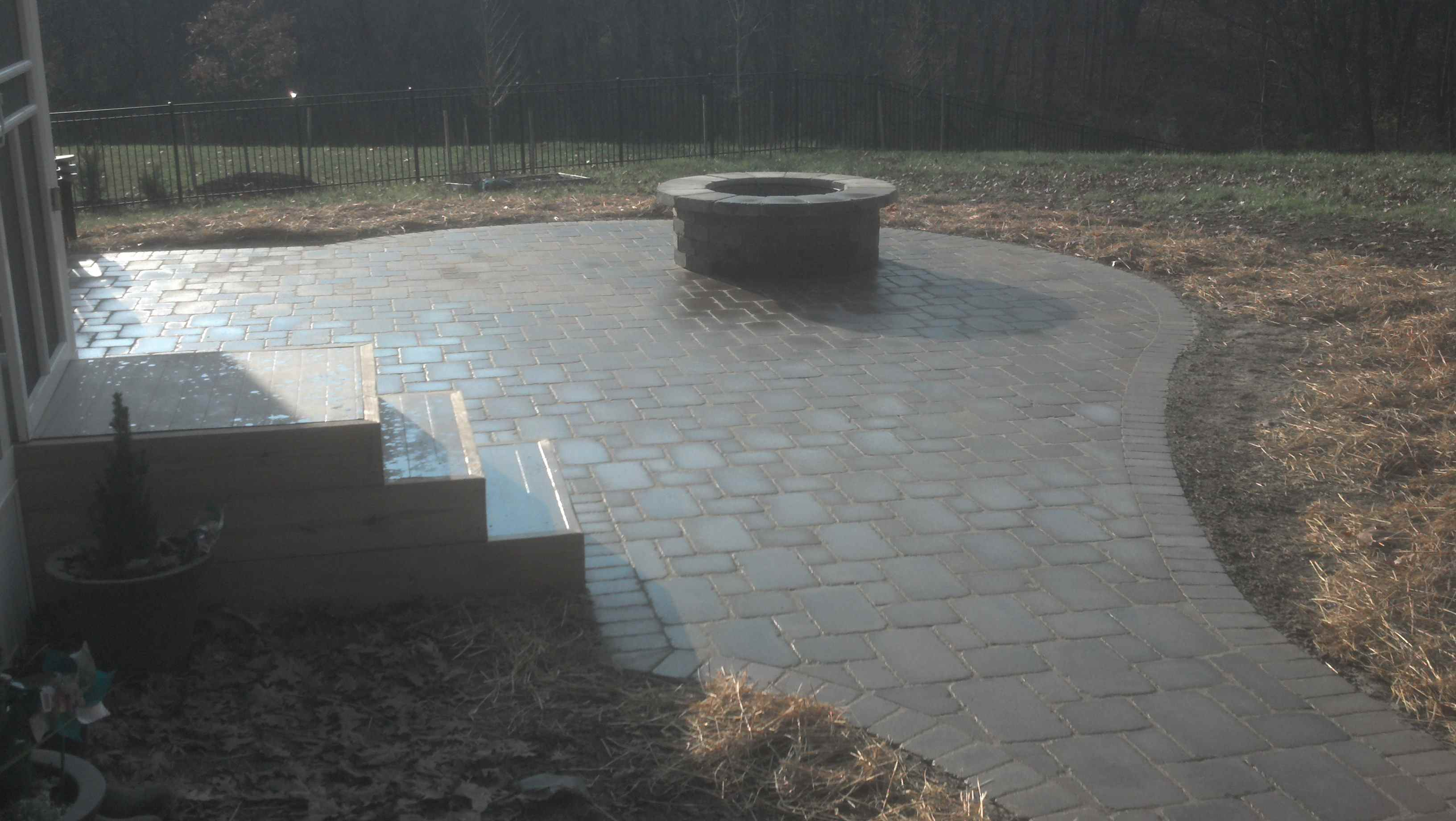 Fire Pit Area with Interlocking Stone Patio