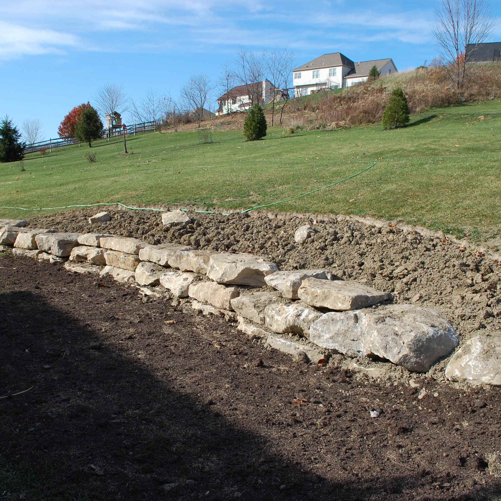 Building a Retaining Wall with Rocks
